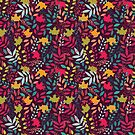 Autumn seamless pattern with floral decorative elements, colorful design by BlueLela