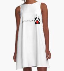 Funny Grizzly Bear Heart T-shirt & Sticker, Bear Heart Sticker and shirt. A-Line Dress