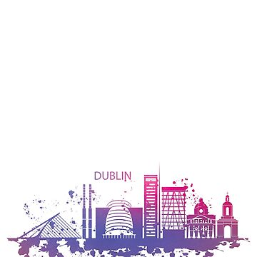 Dublin City Skyline Watercolour Illustration by TshirtsUK