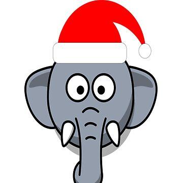 Santa Elephant hat funny Christmas shirt costume by Discofunkster