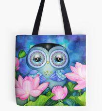 Owl in Lotus Pond Tote Bag