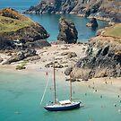 Yacht in Kynance Cove, Cornwall by Carolyn Eaton