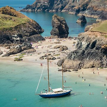 Yacht in Kynance Cove, Cornwall by CarolynEaton