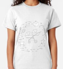 Stroller, twins, rattle, pacifier, bib, overalls. Classic T-Shirt