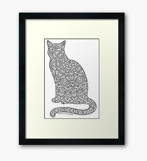 Lámina enmarcada Mandala de gato gris