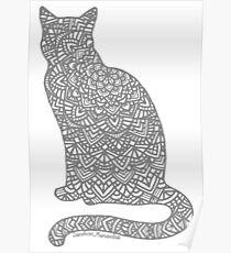 Póster Mandala de gato gris