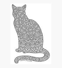 Lámina fotográfica Mandala de gato gris