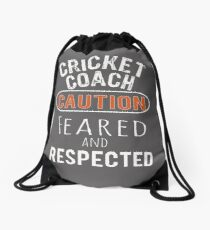 Scary Cricket Coach Gift Design Drawstring Bag
