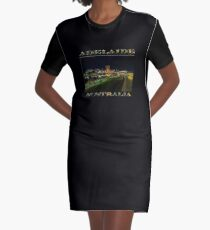 Adelaide Riverbank at Night III (poster on black) Graphic T-Shirt Dress
