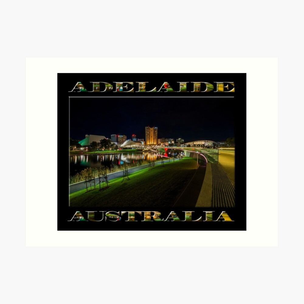 Adelaide Riverbank at Night III (poster on black) Art Print