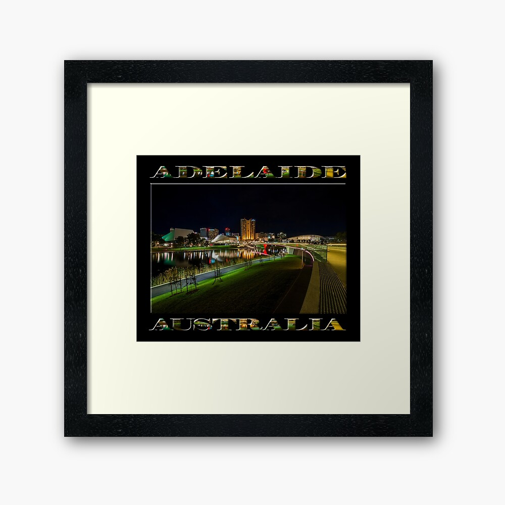 Adelaide Riverbank at Night III (poster on black) Framed Art Print