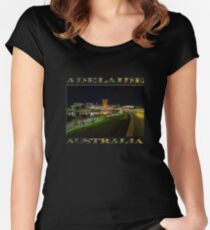 Adelaide Riverbank at Night III (poster on black) Women's Fitted Scoop T-Shirt