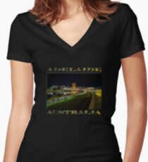 Adelaide Riverbank at Night III (poster on black) Women's Fitted V-Neck T-Shirt