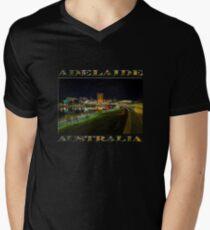 Adelaide Riverbank at Night III (poster on black) Men's V-Neck T-Shirt