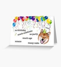 Shiba Inu, Doge meme, birthday card, Dog birthday card, Internet meme birthday card, meme greeting cards Greeting Card
