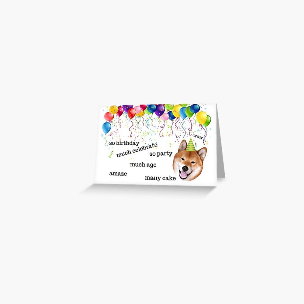 Shiba Inu, Doge Meme, Geburtstagskarte, Hund Geburtstagskarte, Internet Meme Geburtstagskarte, Meme Grußkarten Grußkarte