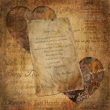 Two Hearts are One - Vintage Romantic Steampunk Art by RavenPrints