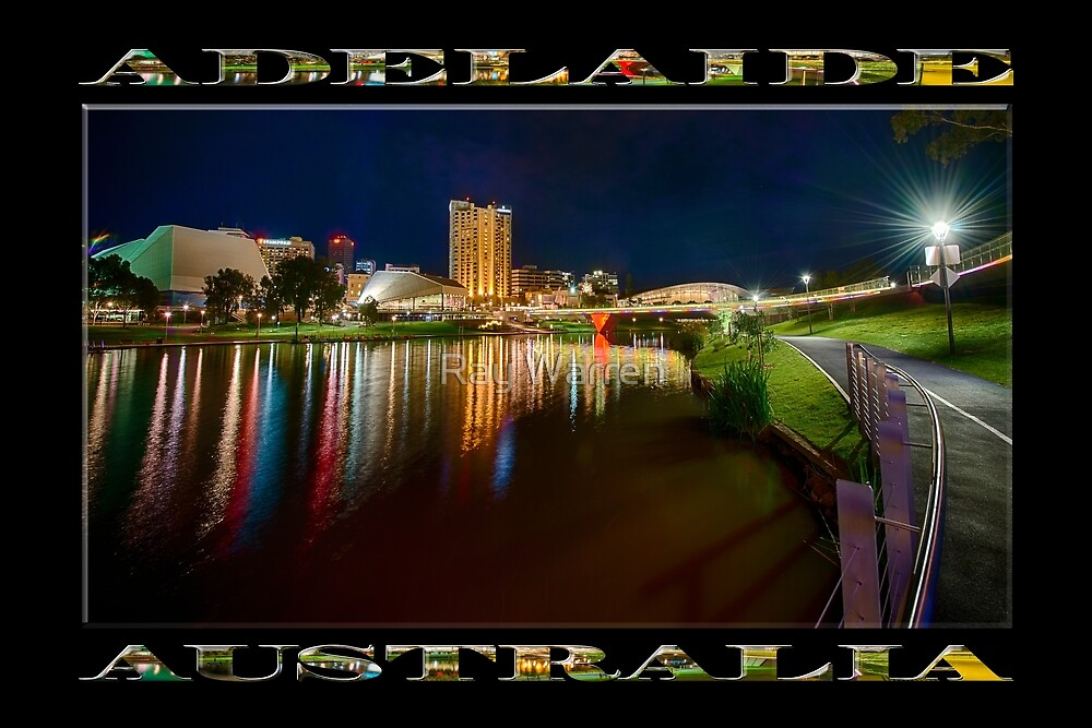 Adelaide Riverbank at Night VI (poster on black) by Ray Warren
