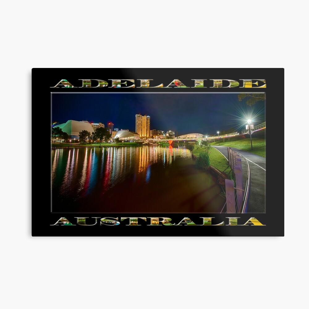 Adelaide Riverbank at Night VI (poster on black) Metal Print