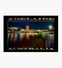 Adelaide Riverbank at Night VI (poster on black) Photographic Print