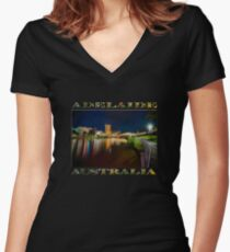 Adelaide Riverbank at Night VI (poster on black) Women's Fitted V-Neck T-Shirt
