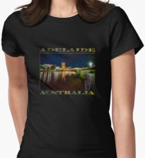Adelaide Riverbank at Night VI (poster on black) Women's Fitted T-Shirt