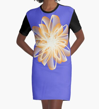 Abstract flower in orange Graphic T-Shirt Dress