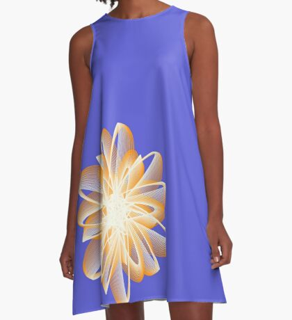 Abstract flower in orange A-Line Dress