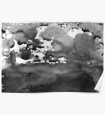 black white paint in monotype technique, abstract texture Imitation marble, granite Poster