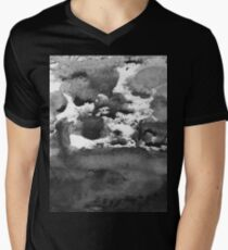 black white paint in monotype technique, abstract texture Imitation marble, granite Men's V-Neck T-Shirt
