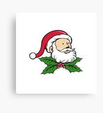 Santa Claus Father Head Christmas Holly Cartoon Canvas Print