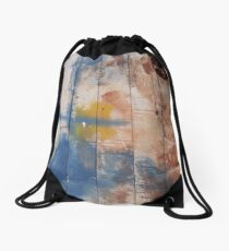 Ready made Painting in Boat Yard, Simi Greece - Blue, red and yellow with hole Drawstring Bag
