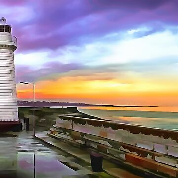 Donaghadee Lighthouse, Ireland. (Painting) by cmphotographs