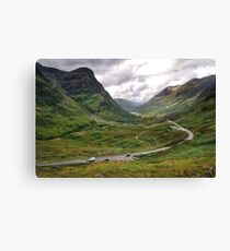 The A82 road through Glencoe, Highlands of Scotland Canvas Print