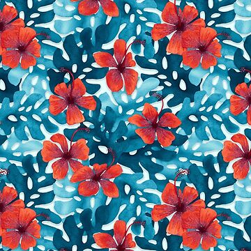 Tropical Hibiscus Pattern Red by artlovepassion
