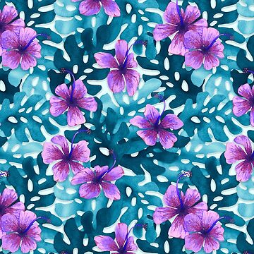 Tropical Hibiscus Pattern Purple by artlovepassion