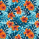 Tropical Hibiscus Pattern Orange by artlovepassion