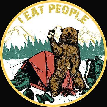 I Hate People I Eat People Camping Shirt Hiking  Bear shirt by Jermoumi
