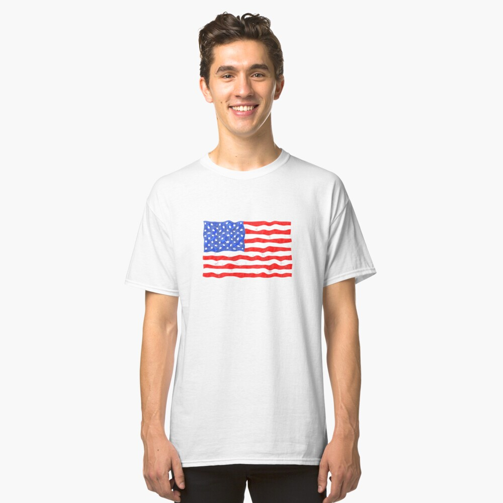 Cool American Flag USA Classic T-Shirt Front