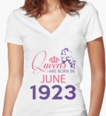 It's My Birthday 95. Made In June 1923. 1923 Gift Ideas. Women's Fitted V-Neck T-Shirt