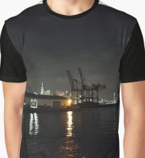 #Port, #crane, #ship, #industry, #sea, #cargo, #harbor, #dock, #shipping, #industrial, #night, #container, #water, #transportation, #transport, #cranes, #boat, #sky, #harbour Graphic T-Shirt