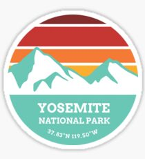 Yosemite National Park Retro Mountain Sticker Sticker