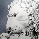 Sleeping stone Lion by Robert David Gellion