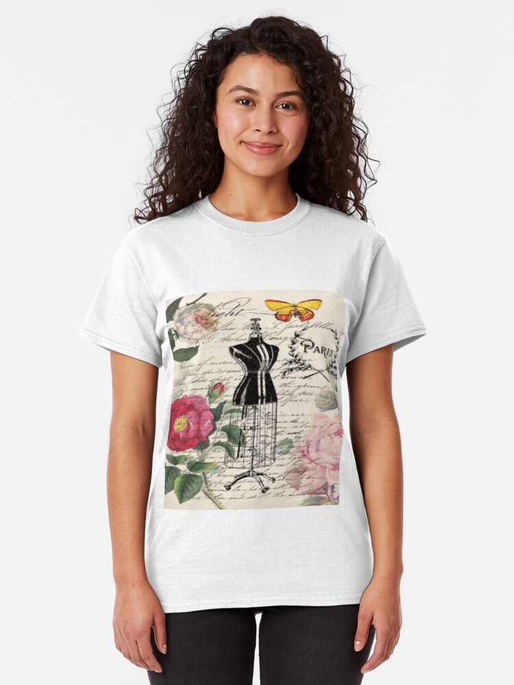 Alternative Ansicht von  französisches Land Rose floral moderne Vintage Kleid Schaufensterpuppe Paris Mode Classic T-Shirt