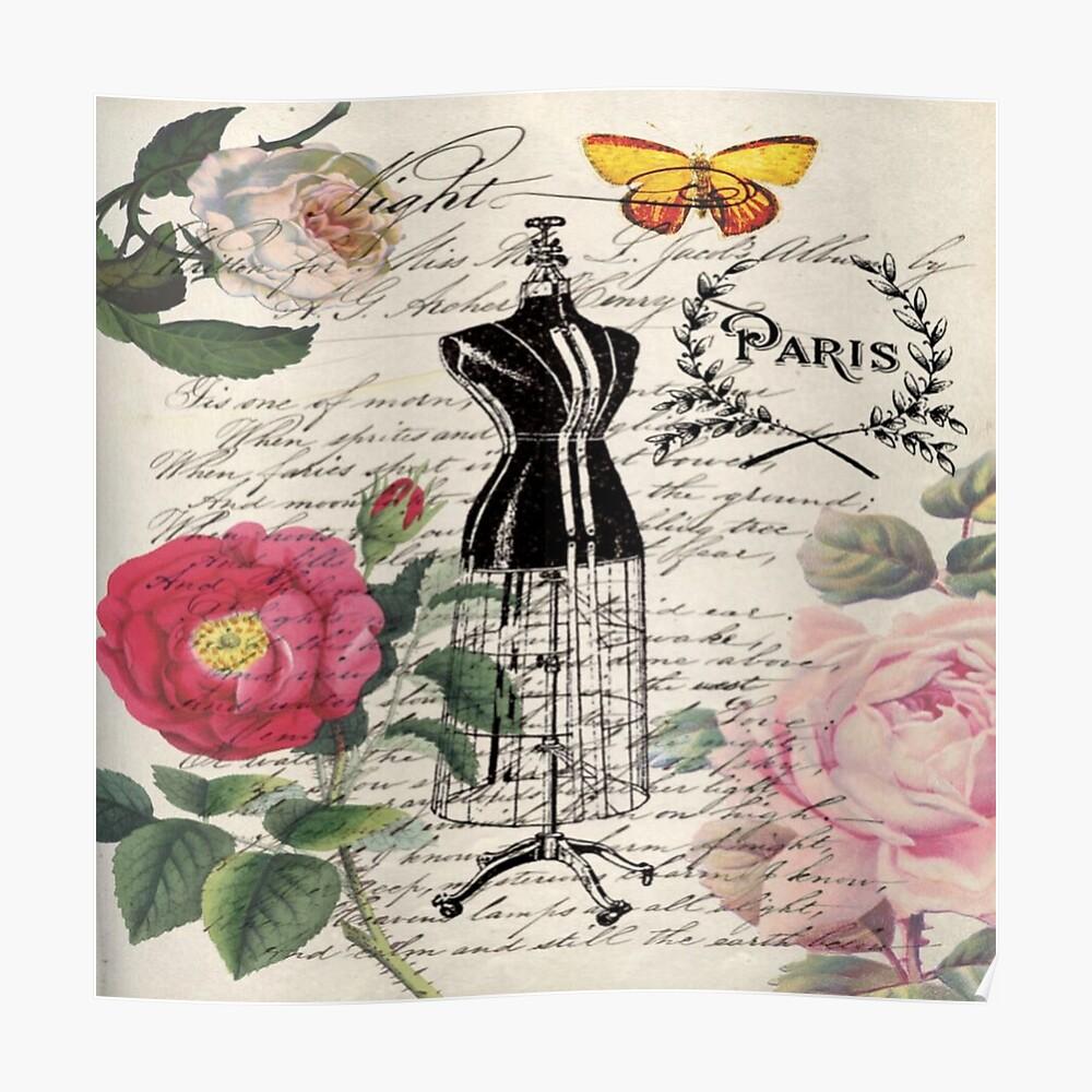 französisches Land Rose floral moderne Vintage Kleid Schaufensterpuppe Paris Mode Poster