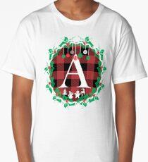 Red Buffalo Plaid Christmas Wreath  with Monogram Initial A Tshirt Long T-Shirt
