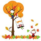 Colorful autumn and joyful children by grafart