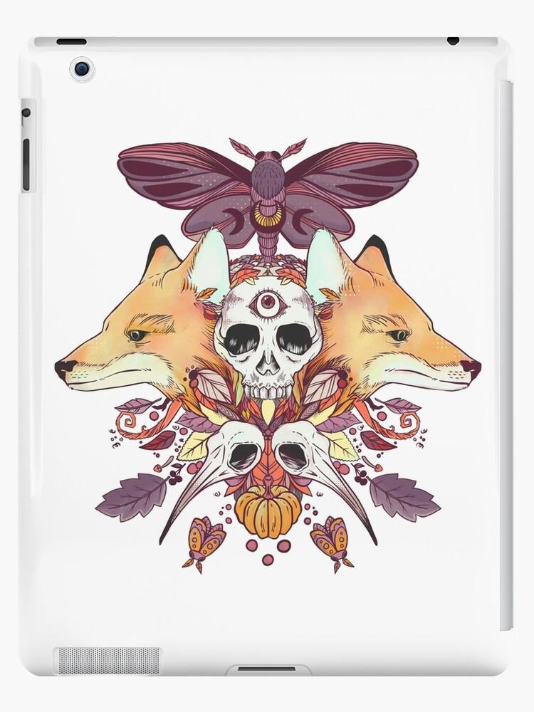 Foxes Hummingbird Skulls Autumn Artwork by cellsdividing