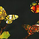 Two Butterflies and the Moon Collage by Cynthia Staples