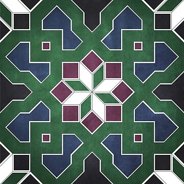 Oriental tile pattern - green, blue by ohaniki